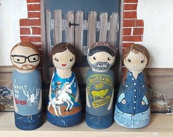 Peg Dolls,  custom family portrait,  custom pegdolls,  family peg dolls, personalized peg dolls,  custom painted peg dolls, mothers day gift