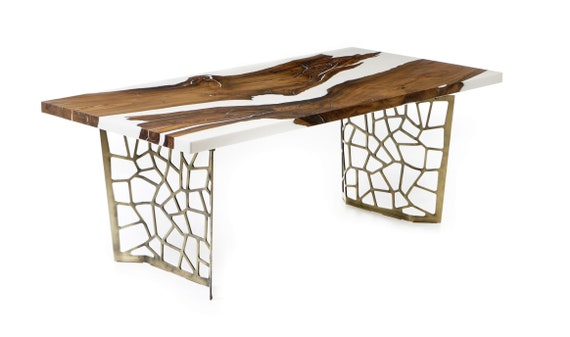 Hudson 200 Epoxy Resin White Dining Table By Naturalist