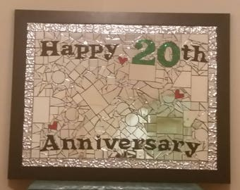 Personalised Framed Mosaic Mirror - 20th Anniversary Gift