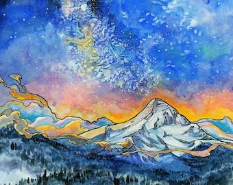 Mt Hood, Digital Print,Print,Hood River,mountain art,sunrise,night sky,11×14,Oregon,pacific northwest,Bend,milky way galaxy,alpenglow