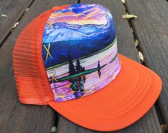 18ce7dc627e Medium Trucker hat,snap back,Sparks Lake,Tangerine Sunset,mountain art, oregon,pnw,Bend,ink,watercolor
