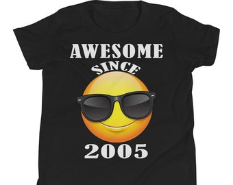 Happy 14th Birthday Gift Shirt Funny Emoticon For 14 Year Old Boys Girls Fourteenth Teens Awesome Since 2005
