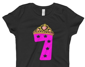 98fc5e7c0 Happy 7th Birthday T-shirt For Girls-Seventh Birthday Gift For Kids-Pink  Birthday Gift Shirt For 7 Year Old Girls-Birthday Party Tees