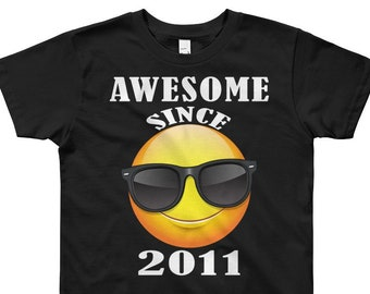 Happy 8th Birthday Gift Shirt Funny Emoticon For 8 Year Old Boys Girls Eighth Kids Awesome Since 2011