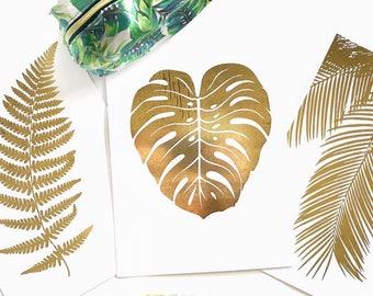 Gold Foil Prints- Tropical Leaves