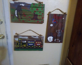 Hand Made 1973 Painted Wall Decor for Playroom or Child's Bedroom.