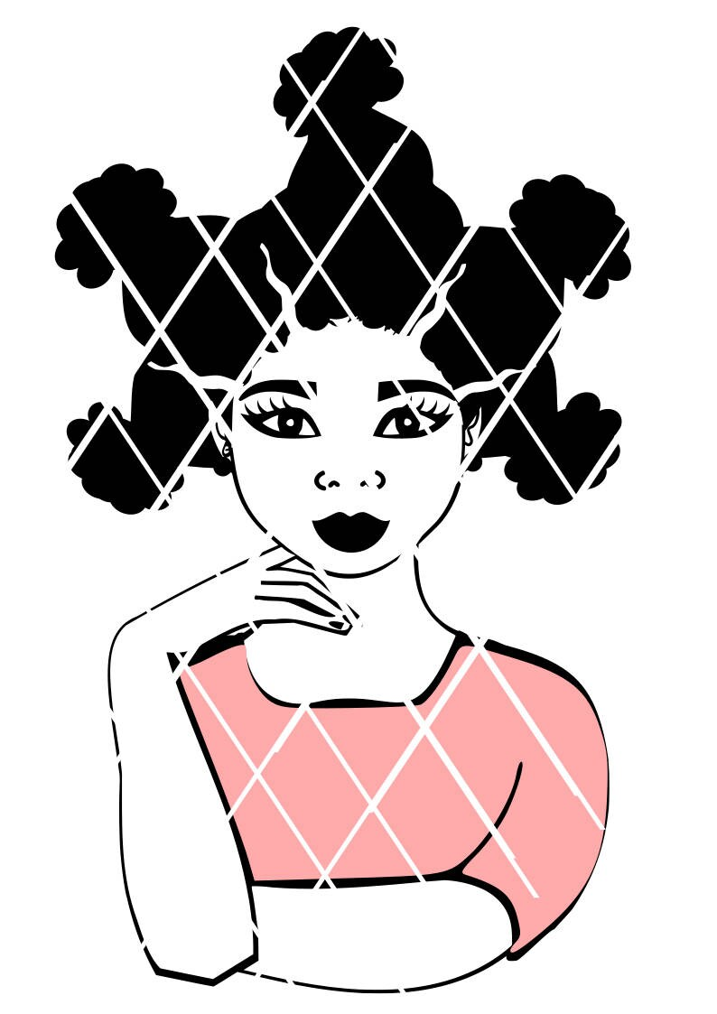 Afro Womanlady Biting Nail Svgafro Puffs Svgyoung Lady Etsy
