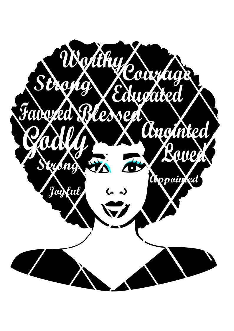 Girl afro black svg with Afro Girl