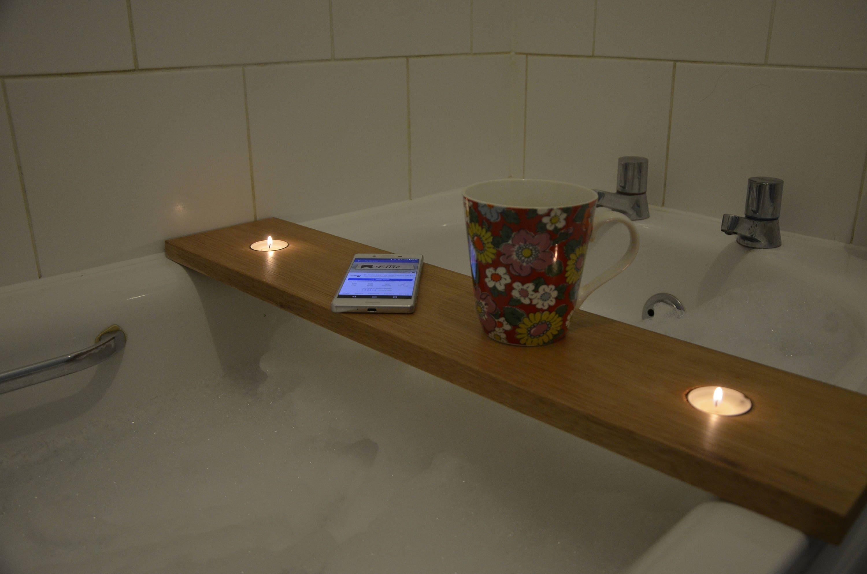 Handburnt Personalised Wooden Bath Caddy Bath shelf Bath | Etsy