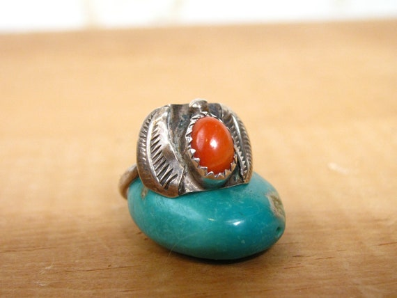Vintage Native American RING Coral and Sterling Si