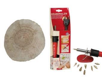 Kit pirgrafo + slice wood Walnut pyrographer 18 cm