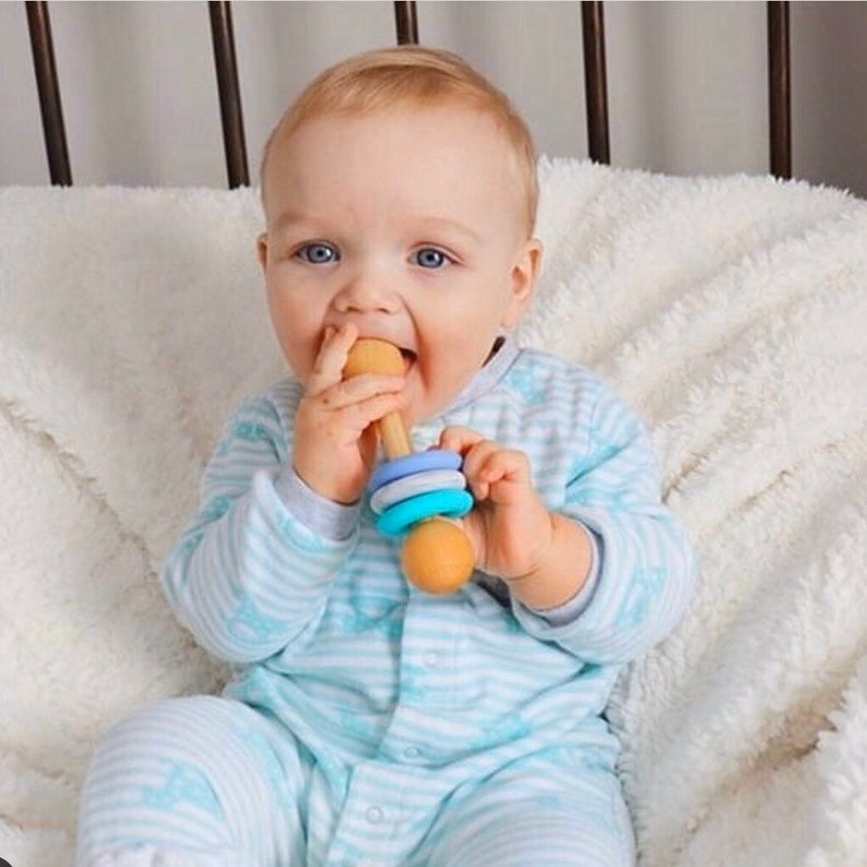 Silicone Chew Rattle  Montessori Baby Toy  Food Grade Silicone and Wood Rattle  Made in Canada