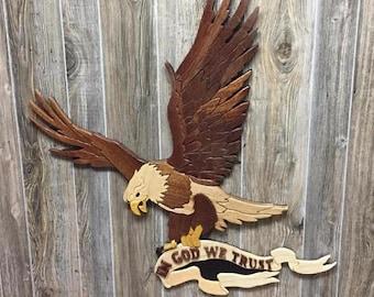 "Eagle Intarsia ""In God We Trust"""