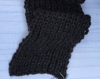 X-Long Hand-Knit Chunky Ribbed Scarf