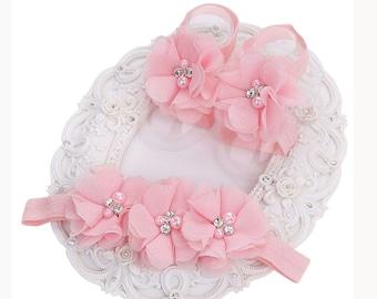 Newborn Headband and sandals set - Baby Headbands - Baby Headband - Baby Headband with shoes- Baby Hairbow - Infant Headband -