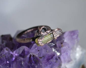 Tourmaline Crystal,Nevada Garnet,Copper Electroformed Ring, Raw Organic Crystal,Electroformed Jewelry,boho,Paprok Toumaline,Unique,Size 6