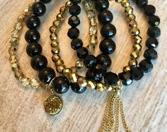Black Lux, Bracelet Stack, black and gold, Arm Stack, beaded bracelets, handmade bracelets