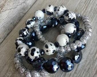 Sailor, Bracelet Stack, Navy jewlery, handmade bracelet, Arm Stack, beaded bracelets