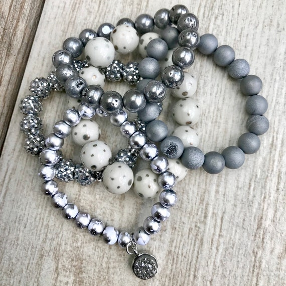 Vereist, Perlen Arm Stack, handgemachte Armbänder, Schmuck, Armbänder, Armband, grau