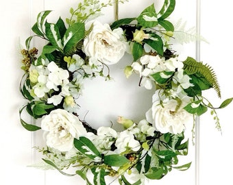 White Floral Wreath Etsy