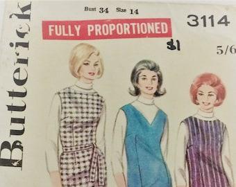 Vintage 1960's Butterick sewing pattern 3114- Misses' jumper dress