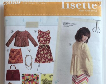 Lisette sewing pattern 2059 - by Simplicity - Misses' dress, blouse and skirt