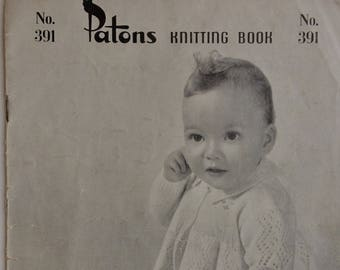 Vintage Patons Knitting Book no. 391 - Baby knits from 3 to 15 months