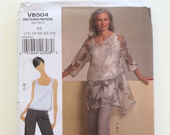 Vogue sewing pattern 8504 Misses' tunic, top and pants Size 16 to 24