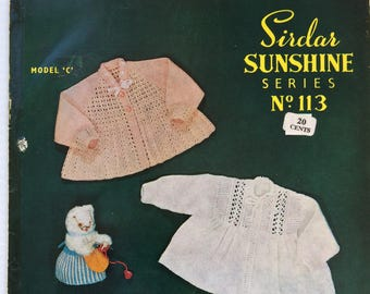 Vintage Sirdar Sunshine Series knitting pattern booklet 113 - baby matinee coats