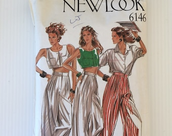 Vintage New Look sewing pattern 6146 wide legged trousers shirt and crop top size 8 to 18