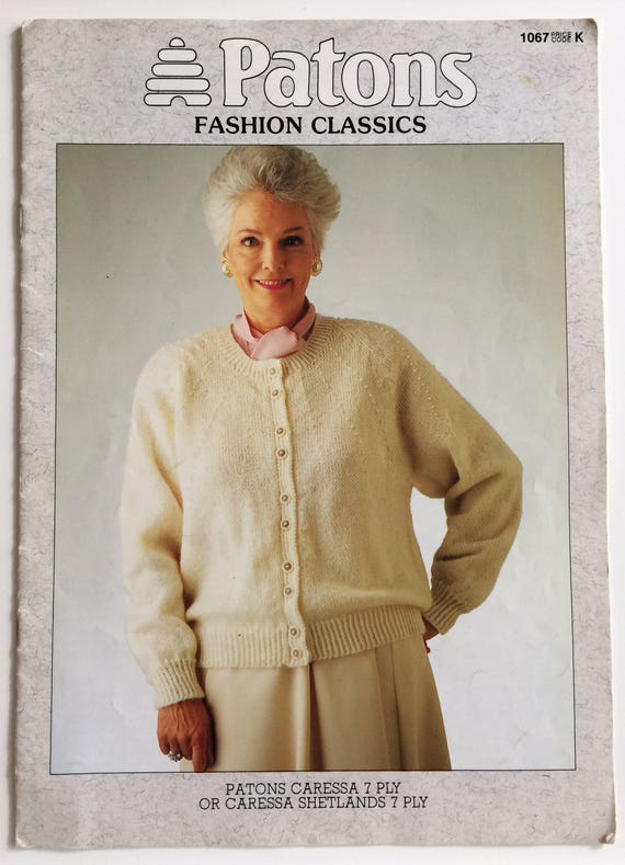 Patons Knitting Pattern Book 1067 Ladies 7 Ply Cable Etsy