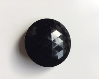Large black glass faceted shank button 41 mm diameter