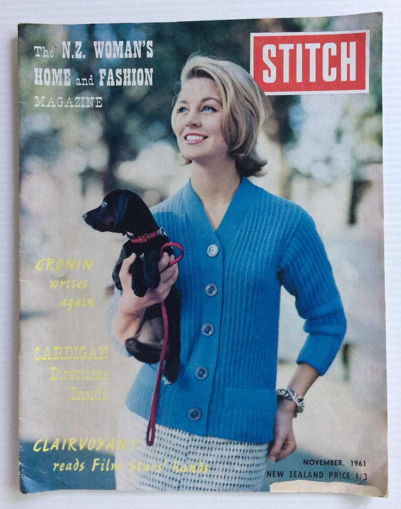 New Zealand Woman/'s Home and Fashion magazine Stitch vintage November 1961 issue