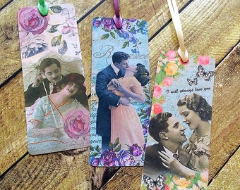 Love Story bookmarks, vintage style, young lovers kissing, romantic bookmarks, pretty bookmark, floral bookmarks, love and romance, ribbons