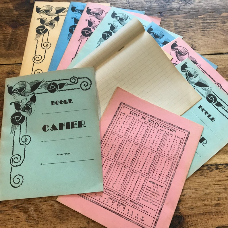 French School Exercise Books, Vintage School Student Notebooks from France  with squared or grid patterned tanned pages, choose your colour