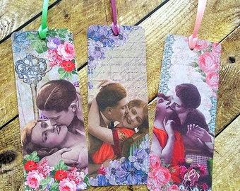 Lovers bookmarks, love story bookmarks, bookmarkers, vintage style bookmark, kissing lovers, young lovers, set of bookmarks, handmade floral