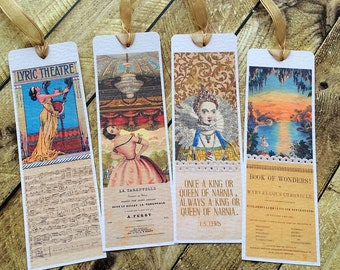 Vintage ephemera bookmarks, vintage style bookmarks, Lyric Theatre, Book of Wonders, Ballet bookmark, C S Lewis, Narnia bookmark, handmade