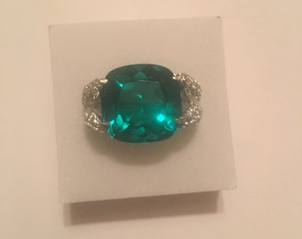 12.50ct Blue Green Apatite Ring Size 6.5