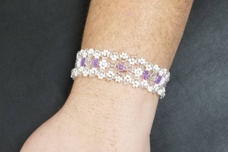 Lakota Sioux Daisy chain Beadwork Silver and Purple Bracelet TH-261 8 length Wedding Lace in White