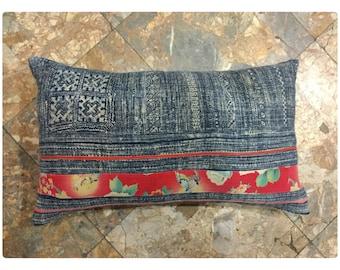 Vintage Handmade Tribal Hmong Thai batik hemp cotton pillow cover
