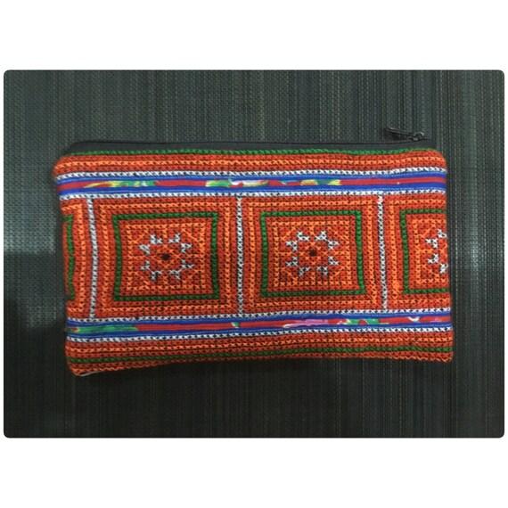 Vintage Hmong blanc Tribal fait main brodé Pochon en coton