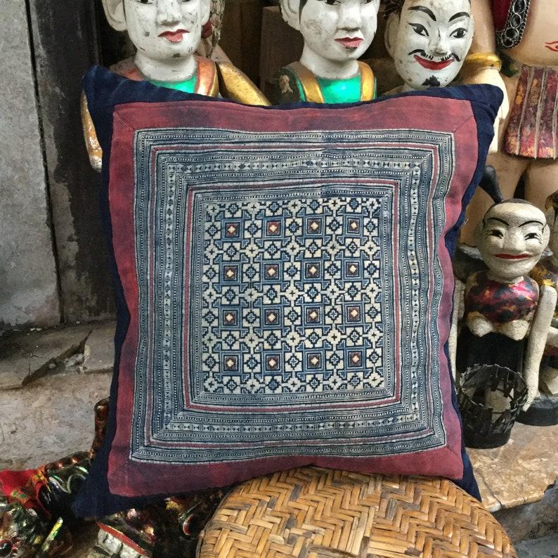 Vintage Handmade Tribal Hmong batik embroidered cotton pillow image 0