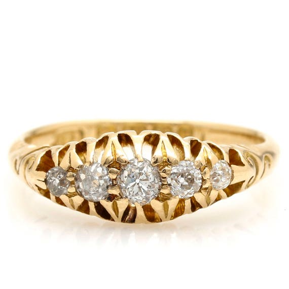 Victorian Five Stone Diamond Ring, Victorian Ring,