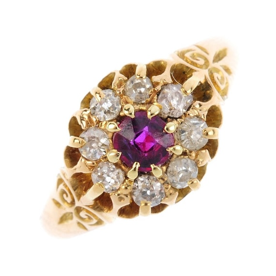 Antique Ruby and Diamond Cluster Ring, Halo Ring,