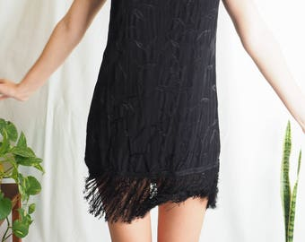 vintage black mini shift dress with fringing