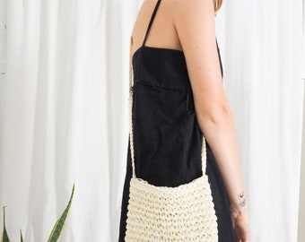 handmade straw woven crossbody shoulder handbag