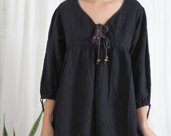 vintage black cotton smock dress top with wooden bead details