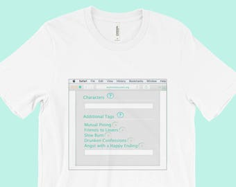 Aesthetic T-Shirt Tumblr Clothing Fandom Fanfiction White Pastel Soft Grunge Vaporwave Kawaii Gray Grey Sea Foam Teal AO3 Internet Culture