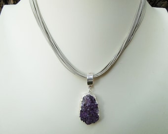 Amethyst Druzy Pendant on Piano Wire Necklace - Silver Piano Wire - Statement Necklace - Amethyst Jewelry - February Birthstone - Wife Gift