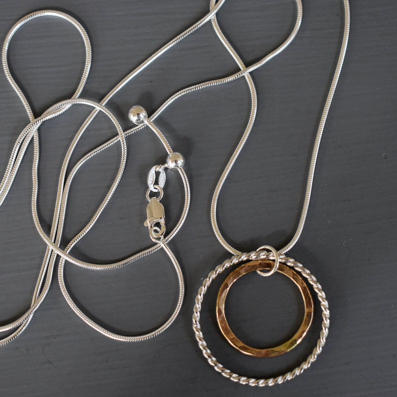 Minimalist Style Sterling Silver and Gold-Filled Circles Pendant Necklace Mixed Metals Necklace with Adjustable Chain